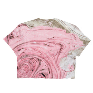 Nude + Pink Marble Ladies Crop Top