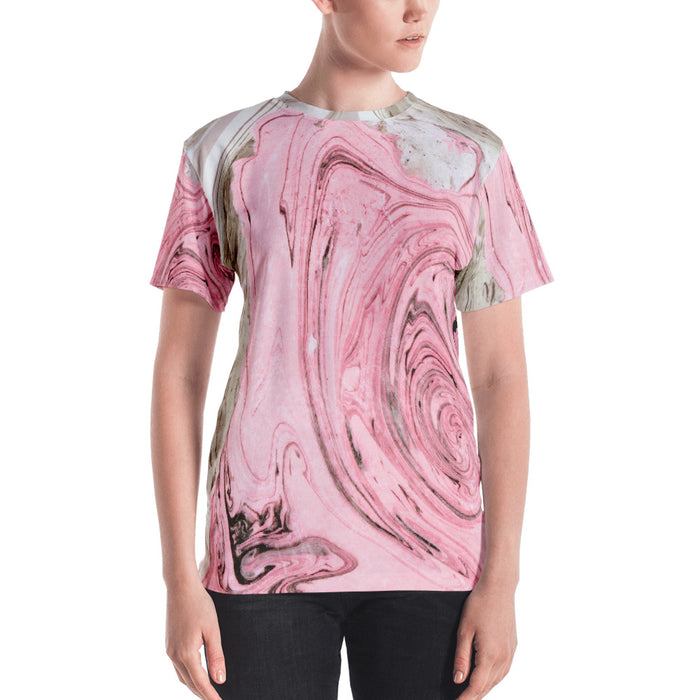 Nude + Pink Marble Women's All-Over T-shirt