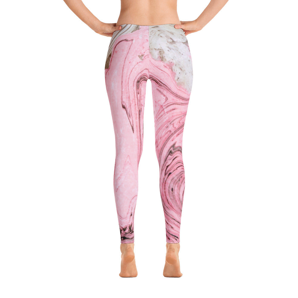 Nude + Pink Marble Leggings