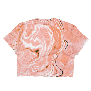 Coral Blush Marble Ladies Crop Top