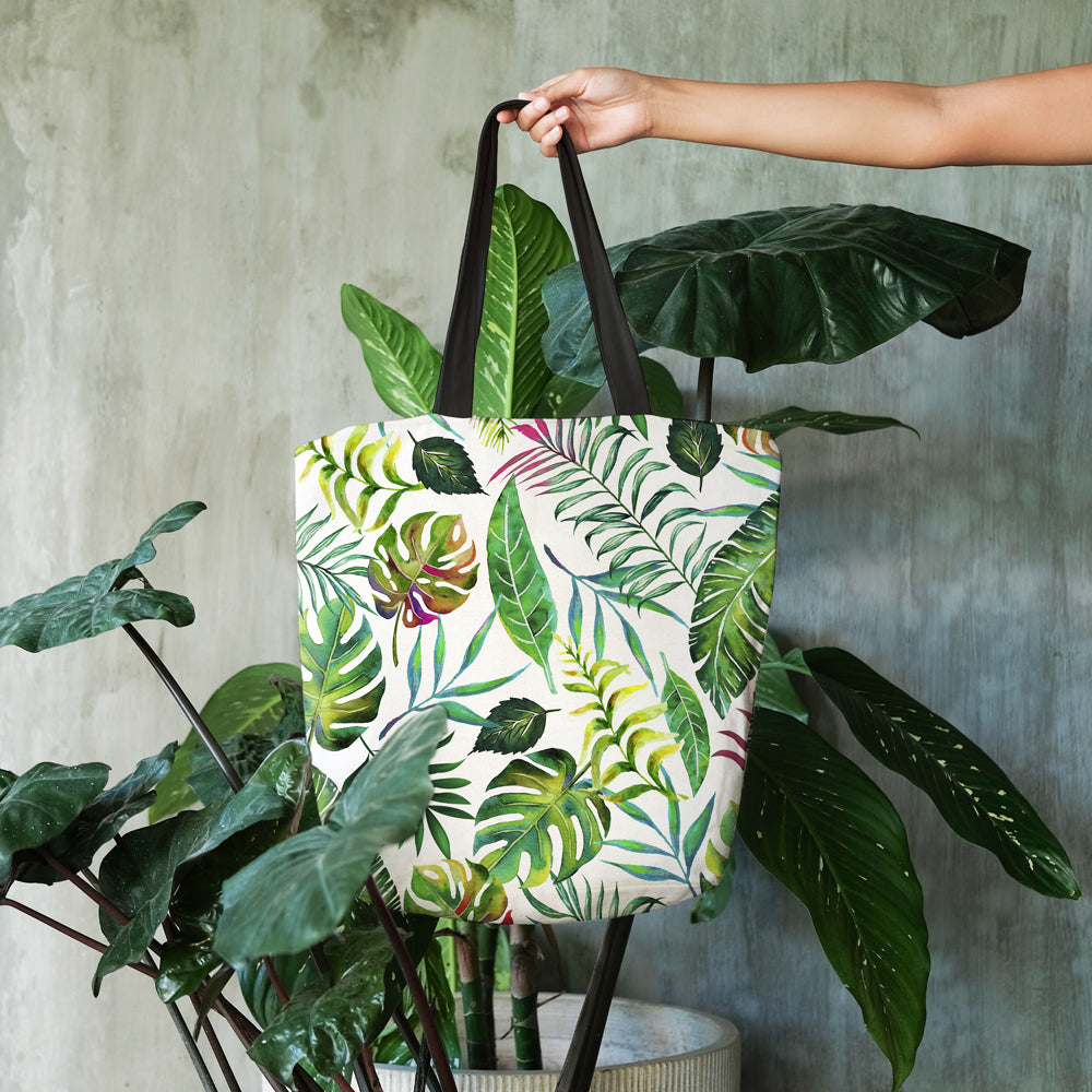 Tropical nature tote bags styled by Uma Gokhale for 83 Oranges