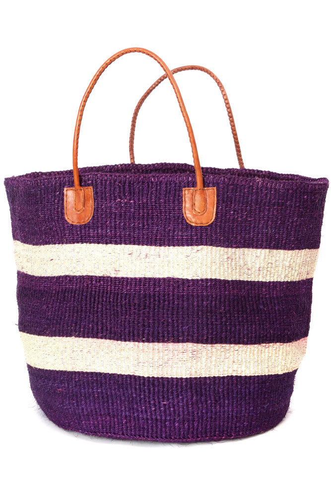 Purple and Natural Sisal Oversize Day Trip Tote