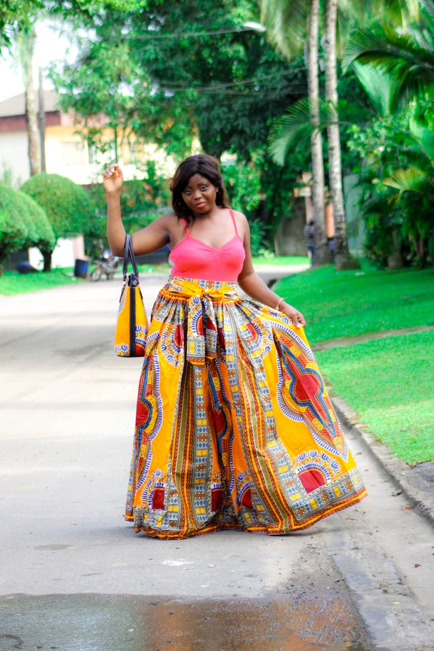 Yan Yellow Dashiki Maxi Skirt