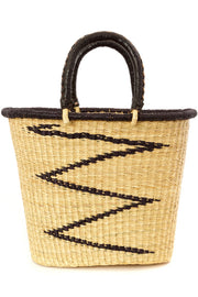 Ghanaian ZigZag Shopper with Leather Handles
