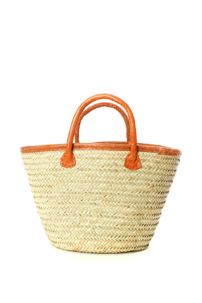 Small Fine Weave Palm Shopper with Leather Trim
