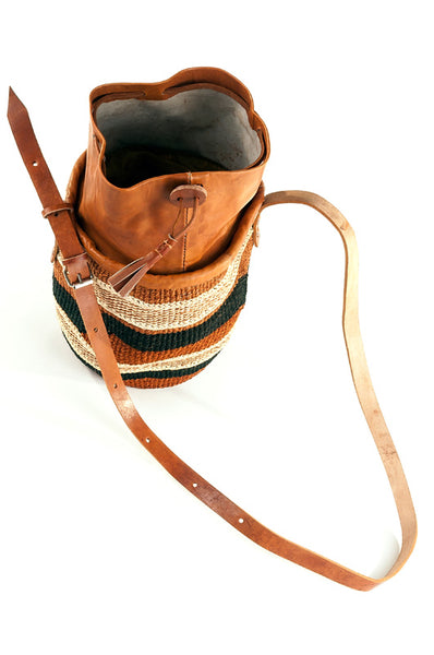 Earthtone Sisal Purse with Leather Cinch Top