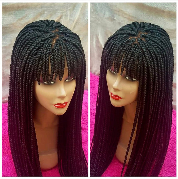 Braided bang wig/ box braids/ Closure wig 22inches