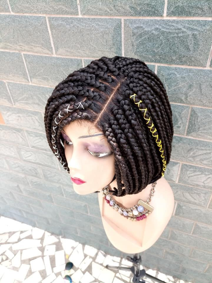 Braided Wig, Bob fringe. Black. Braidwig with Closure