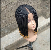 Braided wig with beads/ box braids / with closure/ 14 inches