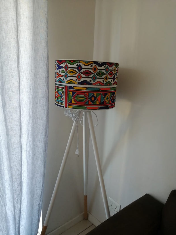 Zulu Handmade Beaded High Lamp| Handmade Beaded Lamp| Corner Lamp with African Beads