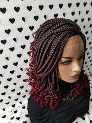 Handmade Box Braid Braided Lace Front Wig With Curly Ends Color 1b/Bug Red Ombre