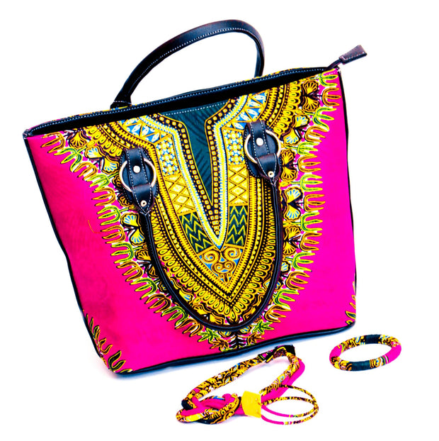 Dashiki Hand bag in set with Earrings, Necklace and Bracelet