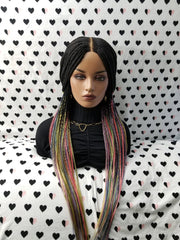 Cornrow Braids Braided Lace Front Wig, Box Braid Braidwig With Cornrows, rainbow