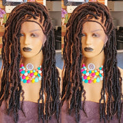 Braided Dread locs Wig, Black and Gold Highlights