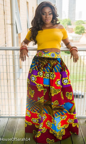 Ada Patchwork Maxi Skirt