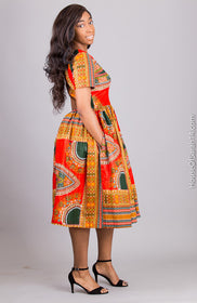 Bordeaux Dashiki Dress