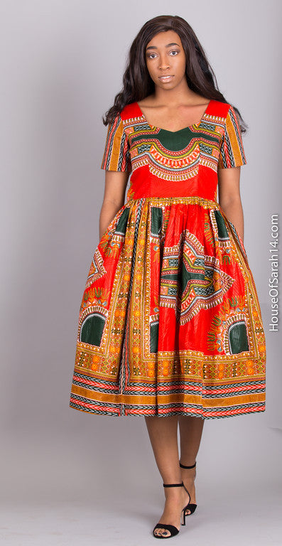 Bordeaux Dashiki Dress - HouseOfSarah14