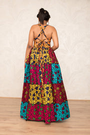 Sacha Patchwork Backless Maxi Dress