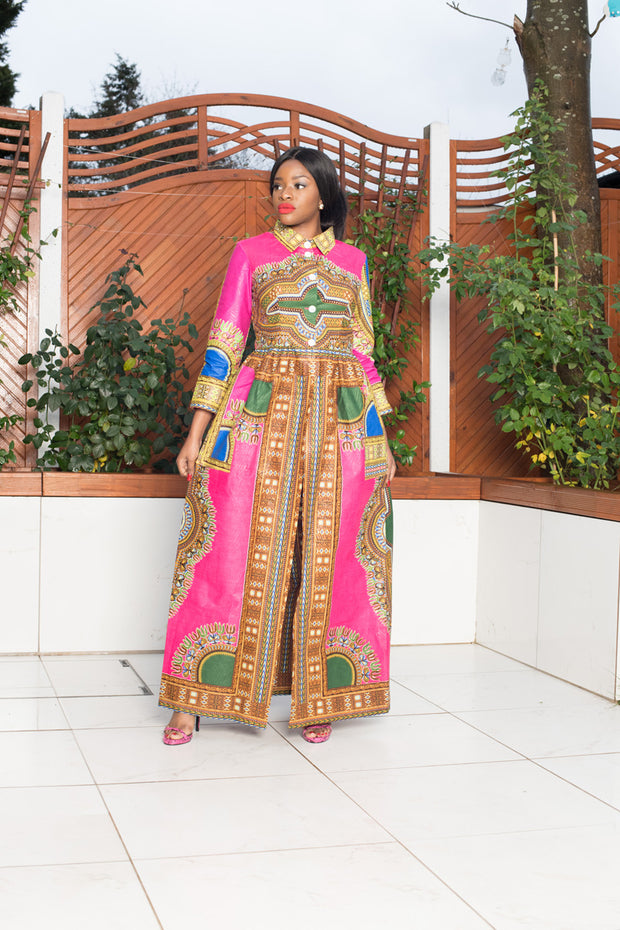 Pink Dashiki African Print Top/Dress