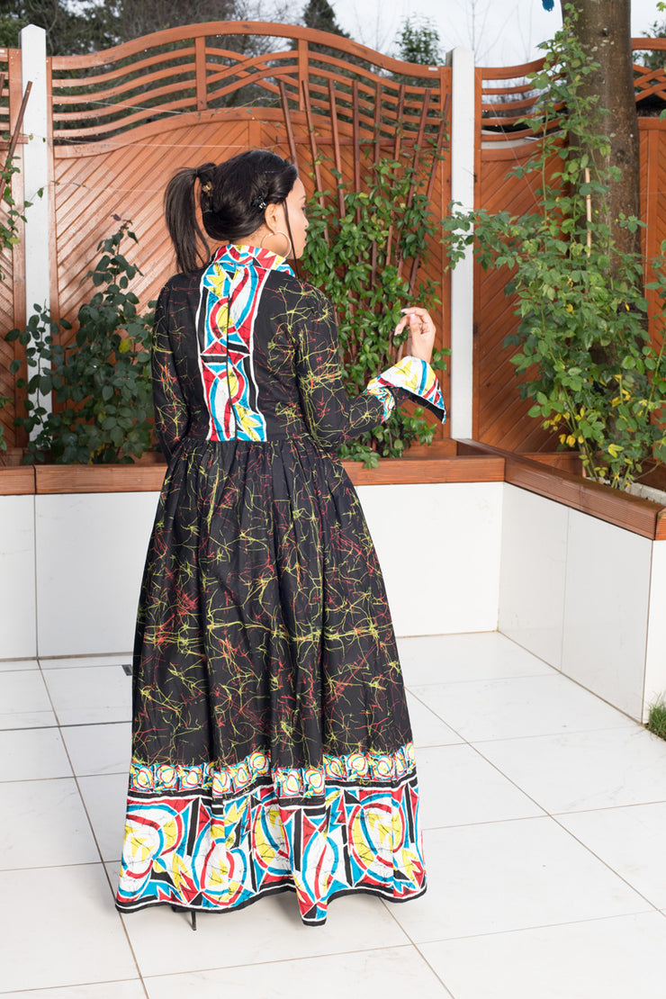 Sherika Black Antic Print Maxi Dress