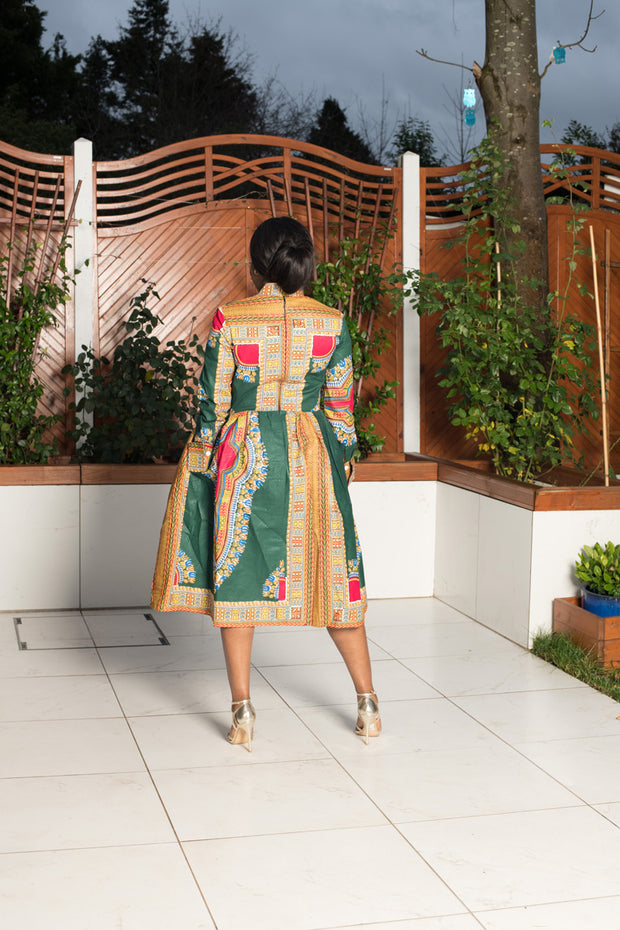 Green Dashiki Midi Dress