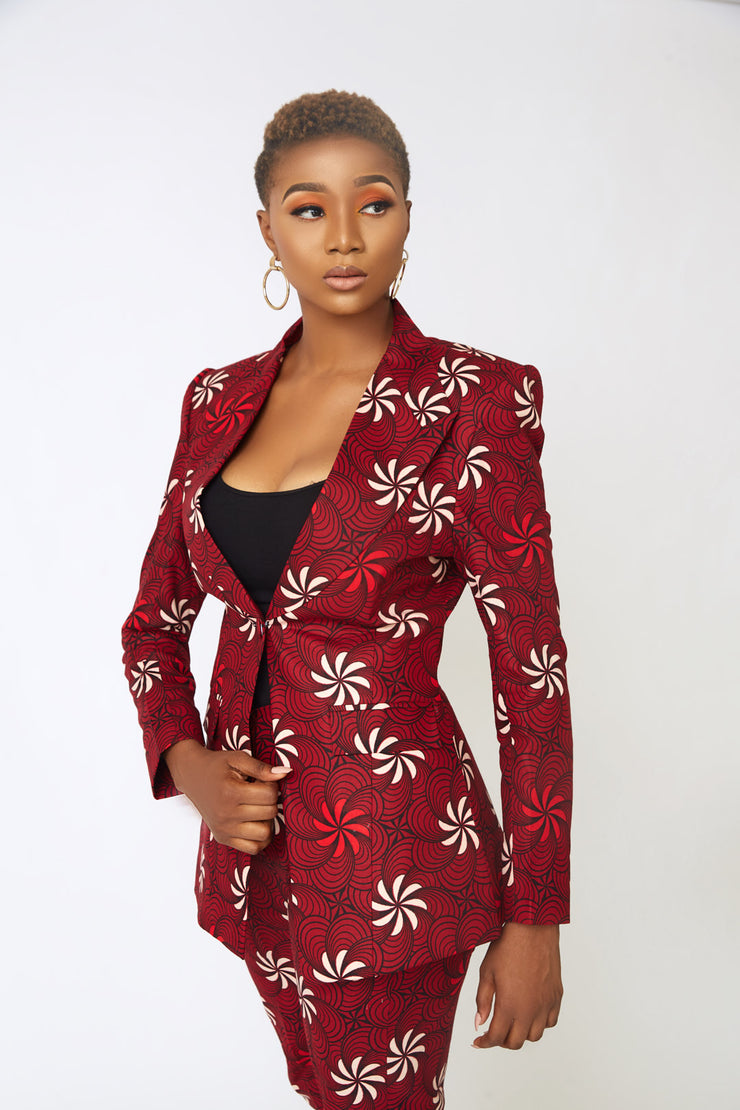 Larissa Red Ankara Suit