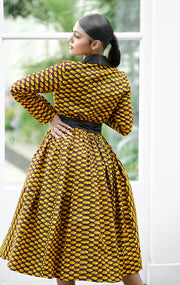 Rebecca African Print Tuxedo Midi Dress