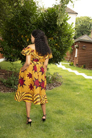 Tara Off-Shoulder African Print Midi Dress