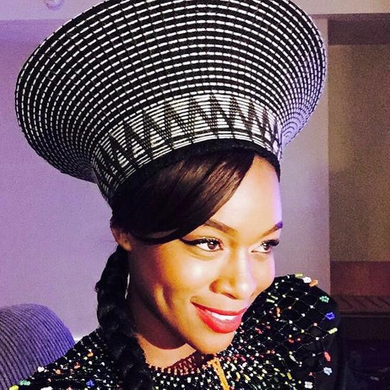Traditional Zulu Isicholo Bucket Beaded Hat