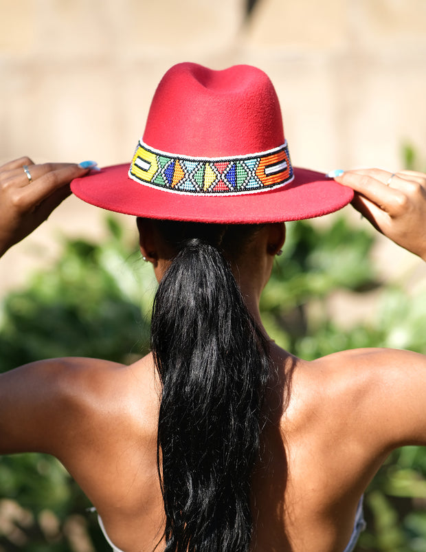 HouseOfSarah14 Red Beaded Fedora Hat