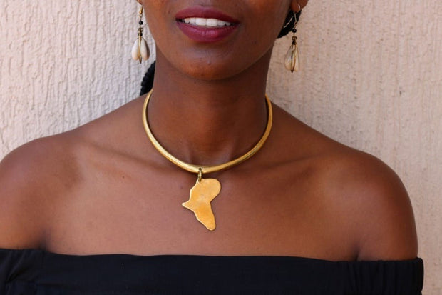 African Brass necklace, Map necklace, Elegant necklace, Boho necklace, One size fits all, Statement necklace