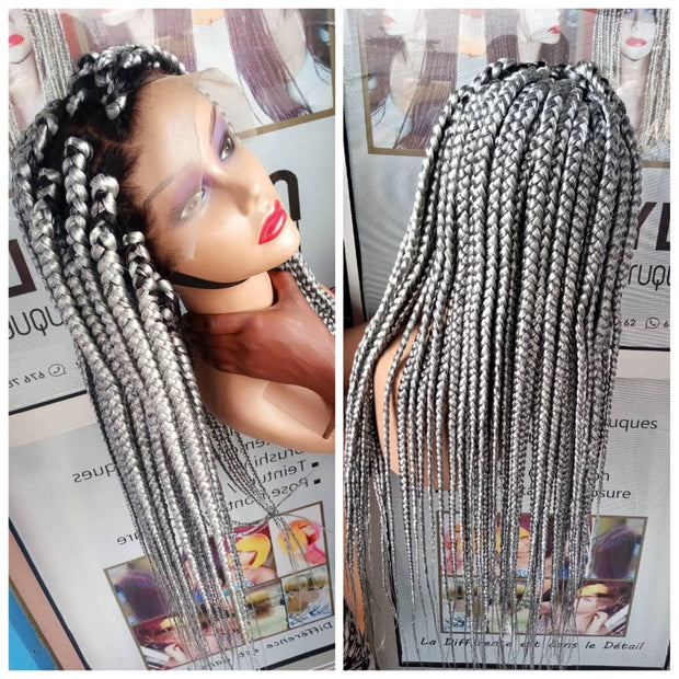Full Lace Box Braided Wig  in Grey
