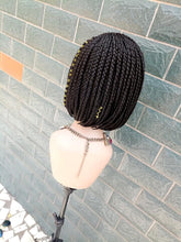 Load image into Gallery viewer, Braided Wig, Bob fringe. Black. Braidwig with Closure