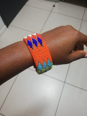 Set of 4 Zulu Beaded Wide Bangles