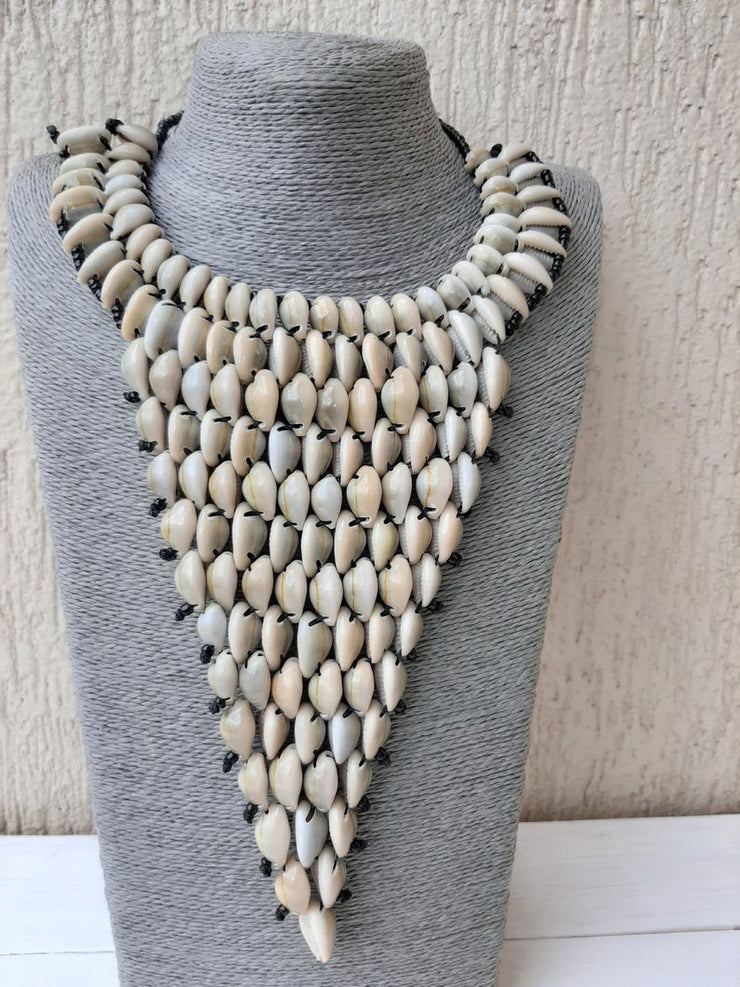 African cowrie shell necklace, Beaded shell necklace, Women jewelry, Sea shell necklace, Boho neckla