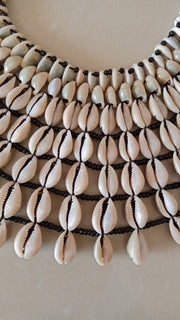 CoSea Shell Necklace, Cowrie Shell Necklace, Natural Shell Jewelry, African Jewelry, Beaded Jewelry, Women Jewelry