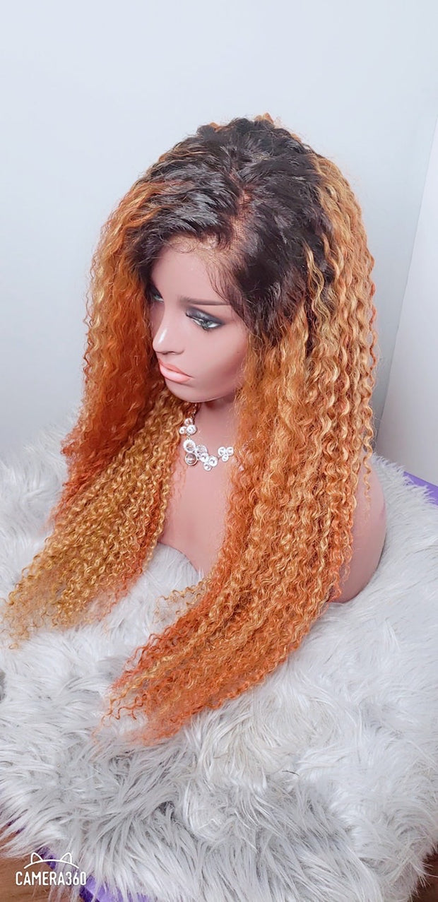Luxury kinky style Human hair, full lace wig with curls