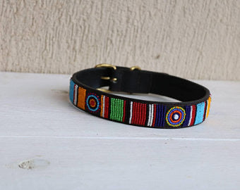 African beaded dog collar, Maasai collar, Handmade collar, Leather dog collar with matching leash
