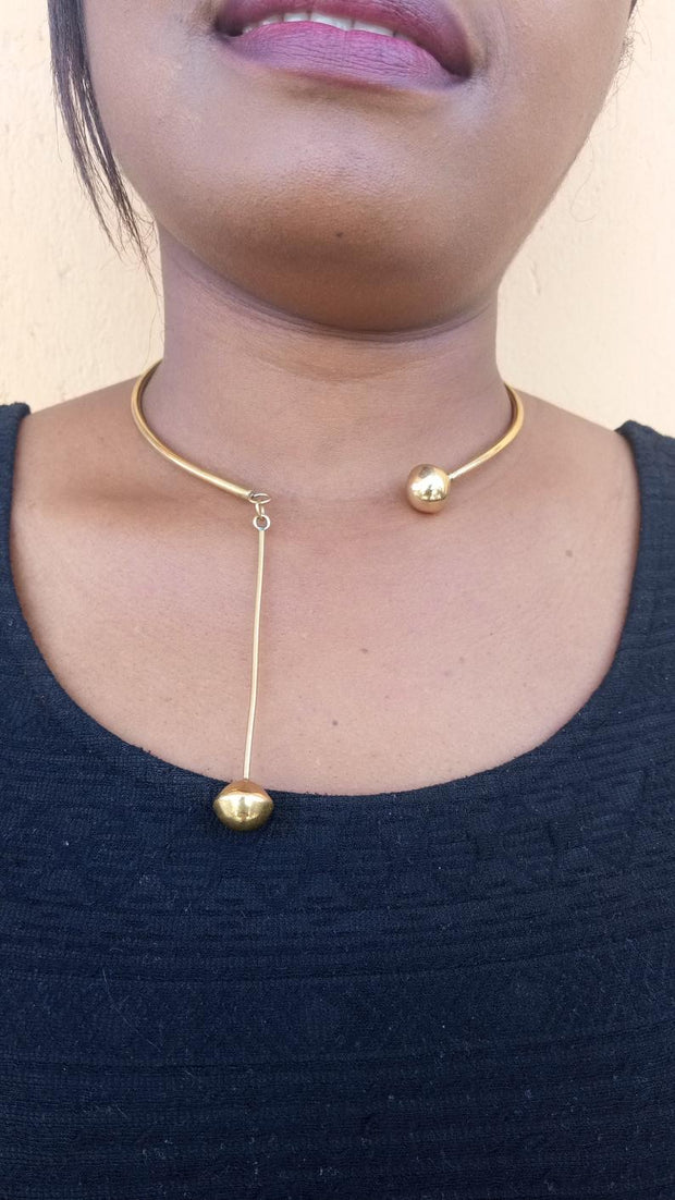 CAfrican Brass necklace, Brass pendant Necklace, Brass jewelry, Women jewelry, Christmas gift, Horn and brass necklace, Boho necklace