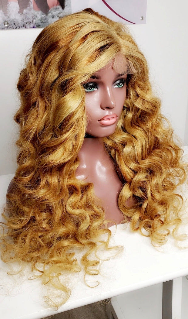 Luxury Human hair, full lace wig with curls