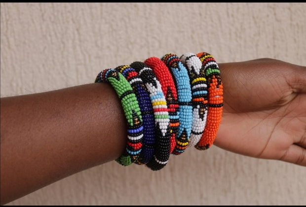 Set of 6 Zulu Beaded Tin Bangles