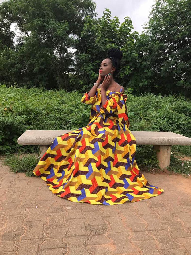 Nenne Yellow African Print Maxi Dress