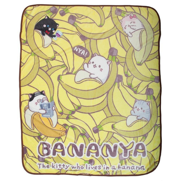 Bananya The Kitty Who Lives In A Banana Fleece Throw Blanket