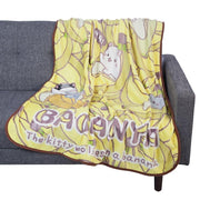 Bananya The Kitty Who Lives In A Banana Fleece Throw Blanket-Bedding-Bananya-A2Depot