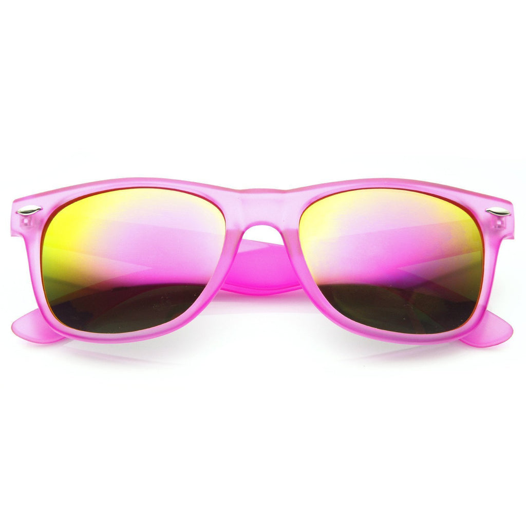 Frosted Neon Retro Party Reflective Mirror Lens Horned Rim Sunglasses 8651 - A2Depot