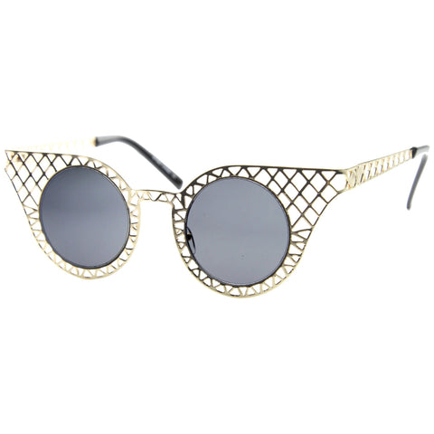 Indie Round Cat Eye Laser Cut Metal Sunglasses 9315 - A2Depot
