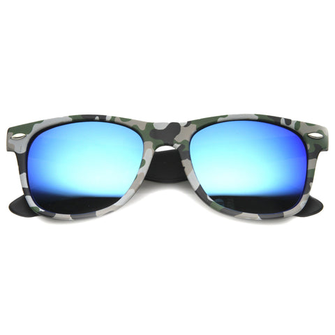 Outdoors Sports Camouflage Mirror Lens Horned Rim Sunglasses 9880 - A2Depot