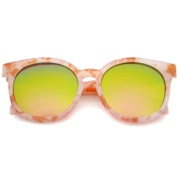 Oversize Marble Print Mirror Lens Round Sunglasses A466 - A2Depot