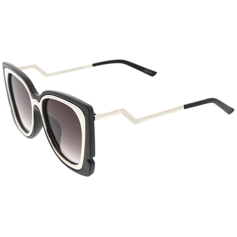 Oversize Notched Angled Temple Cat Eye Sunglasses A833 - A2Depot