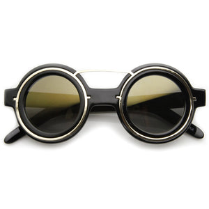 Steampunk Fashion Round Sunglasses Metal Accents 8957 - A2Depot